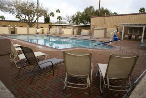 Our fenced patio area with heated pool and spa.